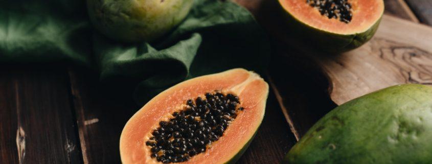 Papaya Sliced in half